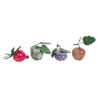 Carved Stone Fruit - Set of 4 For Sale