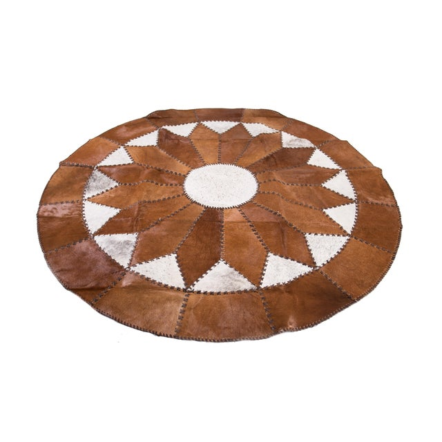 "Cowhide Patchwork Round Area Rug - 5'10""x5'10"" - Image 2 of 6"