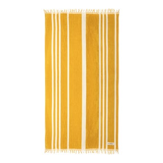 Premium Towel - Vintage Yellow Stripe with Fringe For Sale