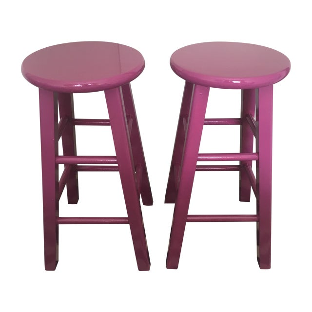 Glossy Mulberry Stools - Pair - Image 1 of 6