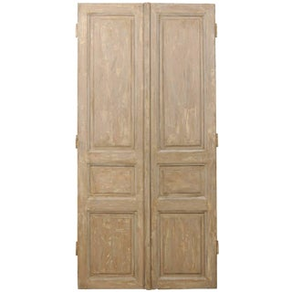 Tall French Brown Wooden Doors With Grey and Cream Accents, 19th Century - a Pair For Sale