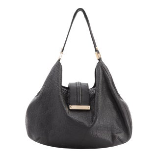 Gucci Black Embossed Guccissima Hobo Bag For Sale
