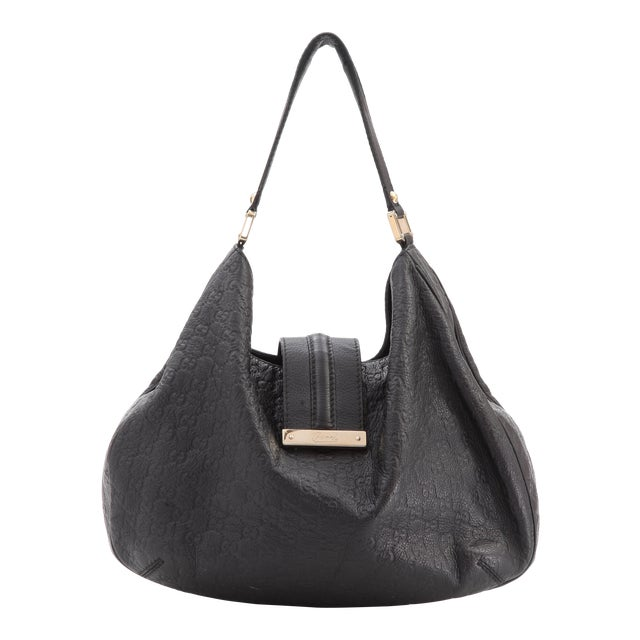89905efafc2 Gucci Black Embossed Guccissima Hobo Bag For Sale