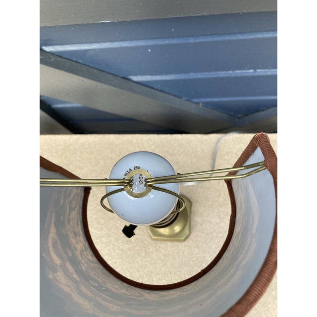 1950s Petite Brass Lamp With Sconce Shade For Sale - Image 5 of 11