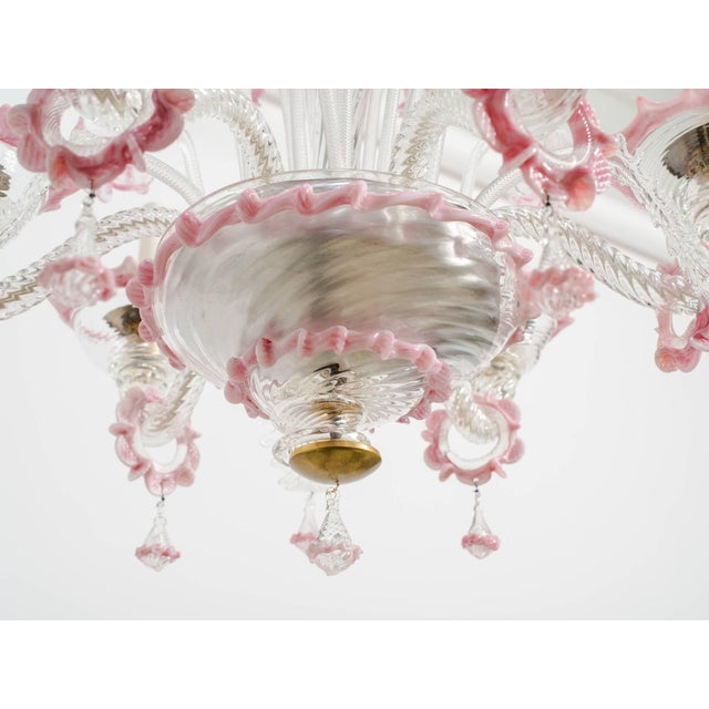 Pink 1950s Venetian Pink Six-Arm Chandelier For Sale - Image 8 of 10