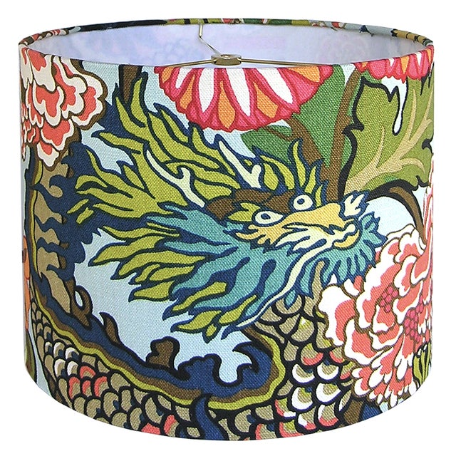 DETAILS: - New, custom, handcrafted lampshade - Fabric: Schumacher's Chiang Mai Dragon in Aquamarine, a 100% linen fabric...