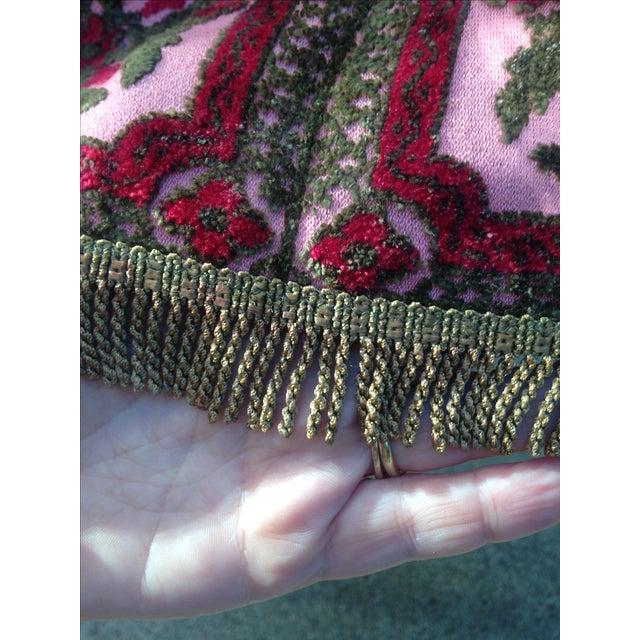 Vintage Cut Velvet & Gold Metallic Fringe Cloth - Image 6 of 8