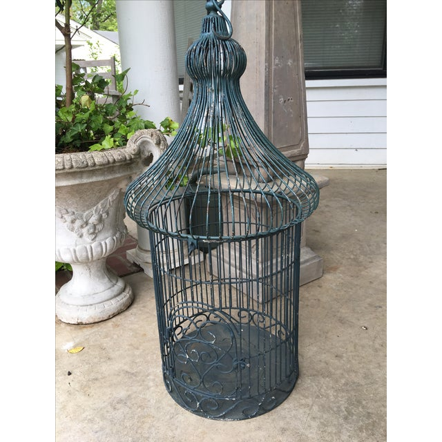 Vintage Bird Cage Planter For Sale - Image 4 of 6