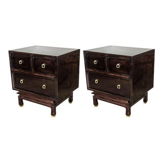 Pair of Mid-Century Modernist Nightstands/End Tables in Ebonized Mahogany For Sale