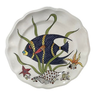 Vintage Italian Ceramic Fish Motif Plate For Sale