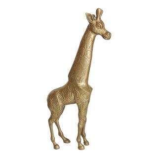 Vintage Brass Giraffe Statue For Sale