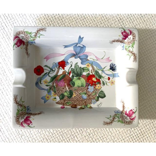 """""""Cestri e Nastri"""" By Gucci Ashtray/Catchall. This large rectangular dish made by Mancioli in Italy depicts a basket..."""