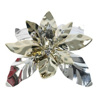 Silver and Gold Poinsettia Candle Holder For Sale