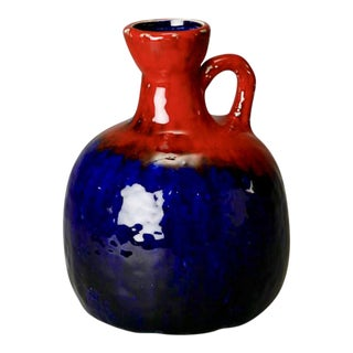 Mid-Century Modern Red and Blue Ceramic Jug With Handle
