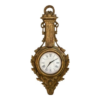 Italian Hand Carved Gilt Wood Wall Clock For Sale
