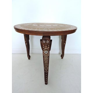 Vintage Inlayed Indian 'Elephant Caravan' Teak Wood & Ebony Round Coffee / Side Table Preview