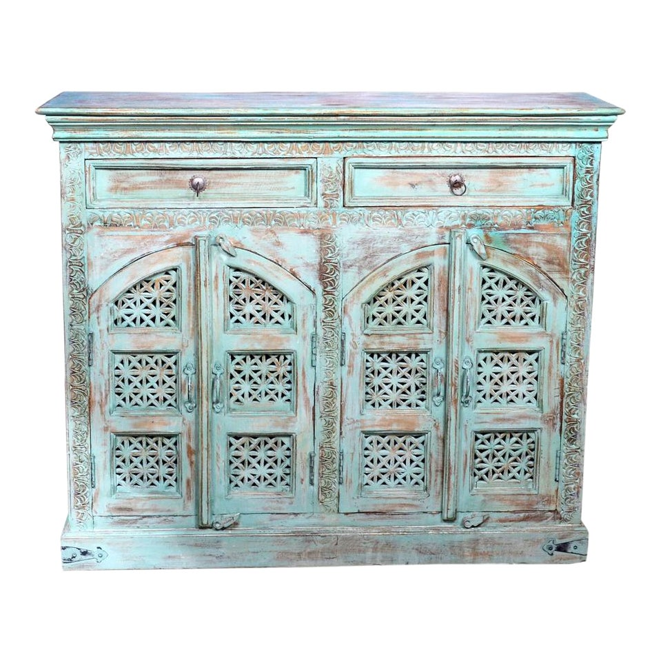 Bohemian Style Hand Carved Buffet Credenza | Chairish