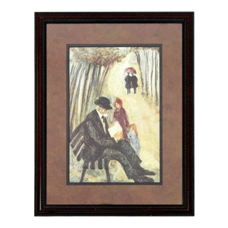 Mid Century Modern Barbara A. Wood at the Park Framed Signed Offset Lithograph For Sale