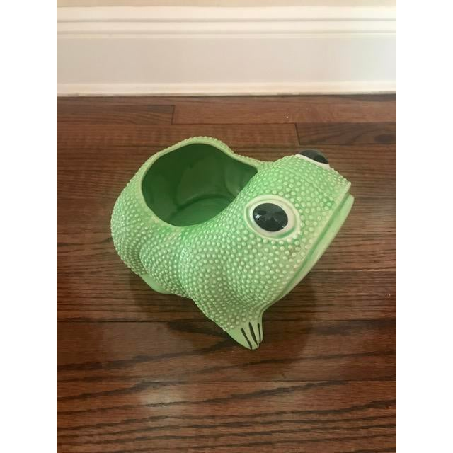 Green Ceramic Frog Planter For Sale In New York - Image 6 of 6