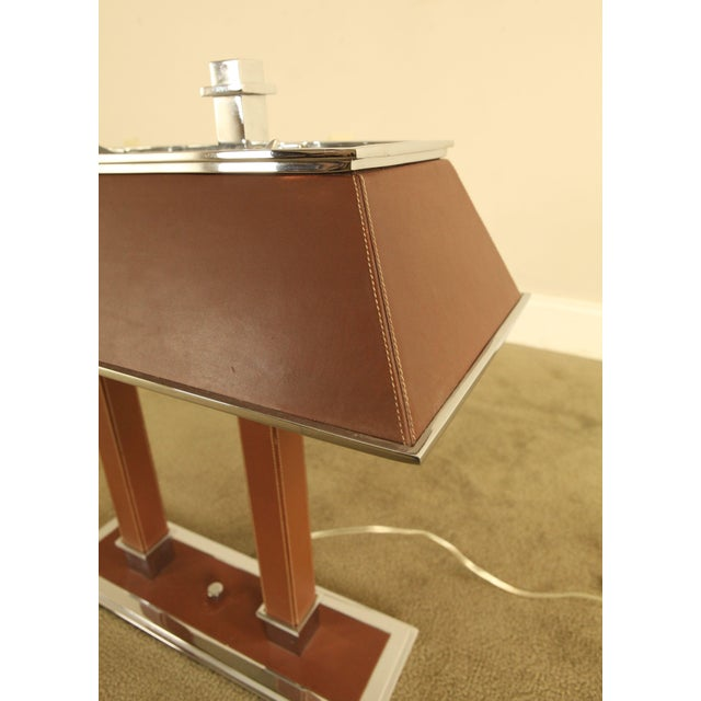 2000 - 2009 Ralph Lauren Leather & Chrome Double Student Desk Lamp For Sale - Image 5 of 12
