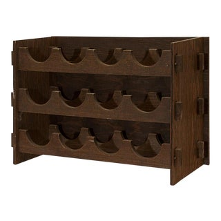 1975 Arts & Crafts Style Wood Wine Rack