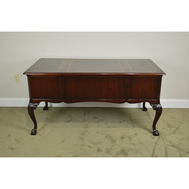 1990s Sligh Chippendale Style Mahogany Ball & Claw Leather Top Desk For Sale - Image 5 of 13