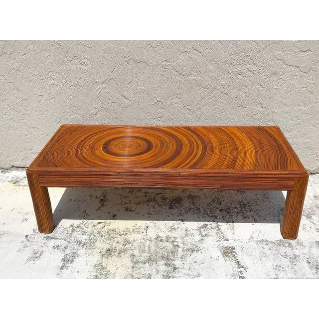 Bamboo Crespi Style Split Bamboo Long Coffee Table For Sale - Image 7 of 11