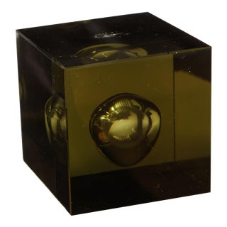 Japanese Hand Blown Green Art Glass Cube, circa 1950 For Sale