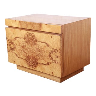 Milo Baughman Style Burl Wood Nightstand by Lane For Sale