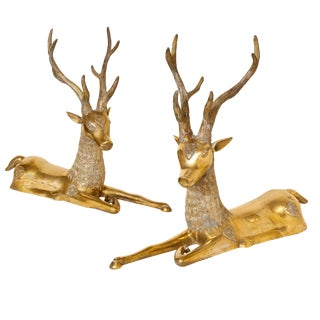 Pair of Seated 1970s Brass Deer For Sale