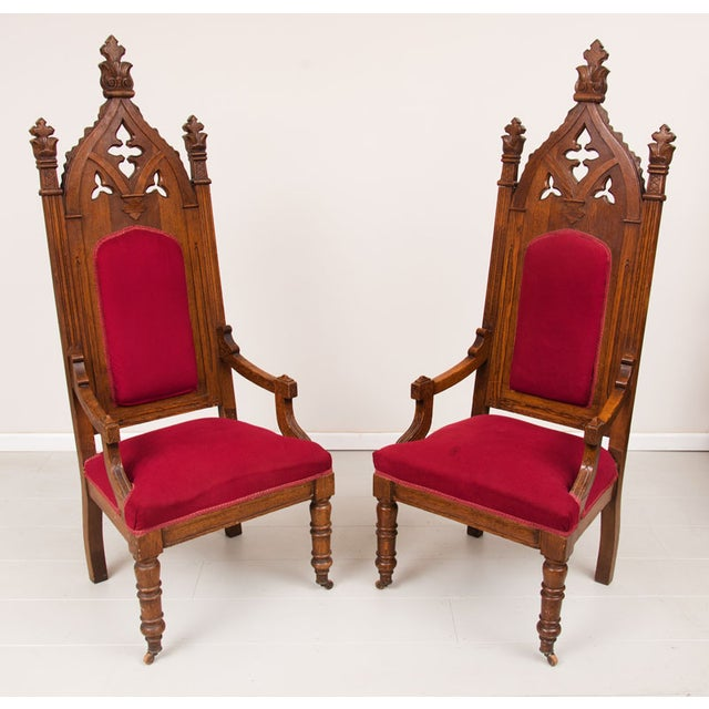 1800s Vintage Victorian Walnut Arm Chairs - Pair - Image 3 of 5