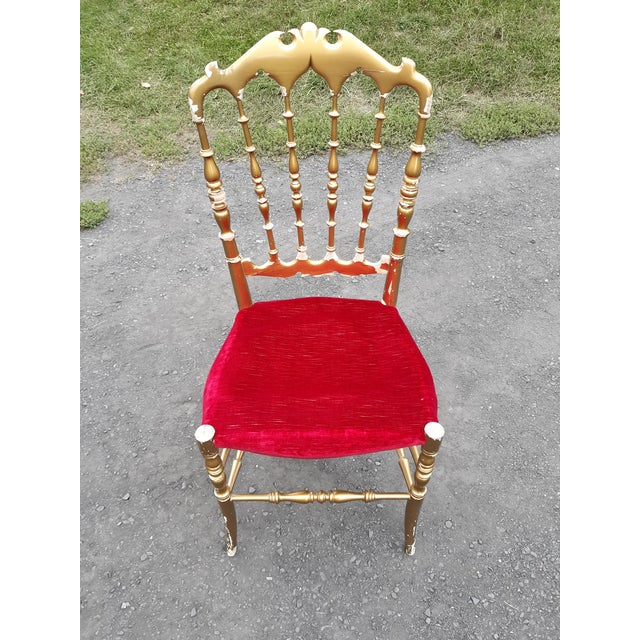 Vintage Italian Chiavari Chair in Gold Over Wood For Sale - Image 12 of 12
