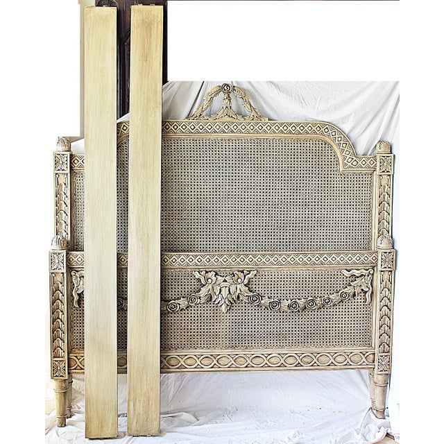 Wood Vintage Louis XVI Style Caned Bed, Queen For Sale - Image 7 of 10