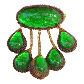 Line Vautrin School Green Talosel Resin Pin Brooch For Sale