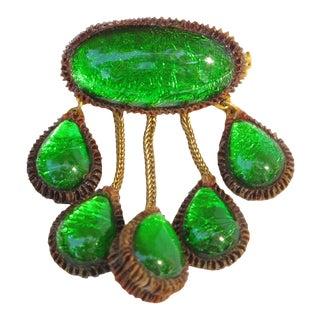 Line Vautrin School Green Talosel Resin Pin Brooch For Sale