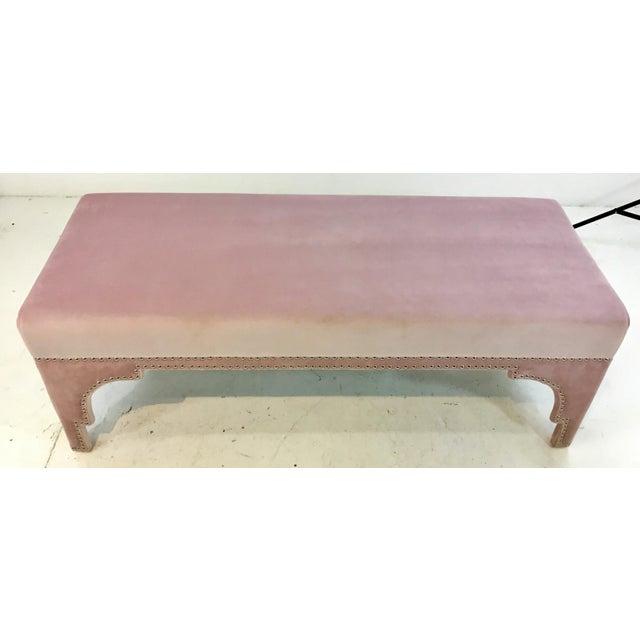 Stylish Worlds Away Modern Blush Velvet Matilda Bench, polished nickel nailhead design, showroom floor sample, original...