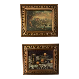 1960s Vintage Oil Paintings - A Pair For Sale