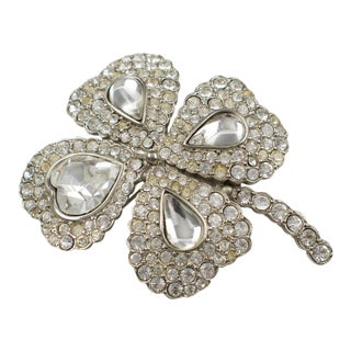Yves Saint Laurent Ysl Jeweled Pin Brooch Four-Leaf Clover Rhinestone For Sale