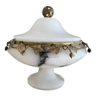 Antique Alabaster and Brass Ivy Garland Covered Compote Bowl For Sale