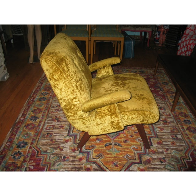 MCM 60s Chartruese Velour Chair - Image 6 of 8