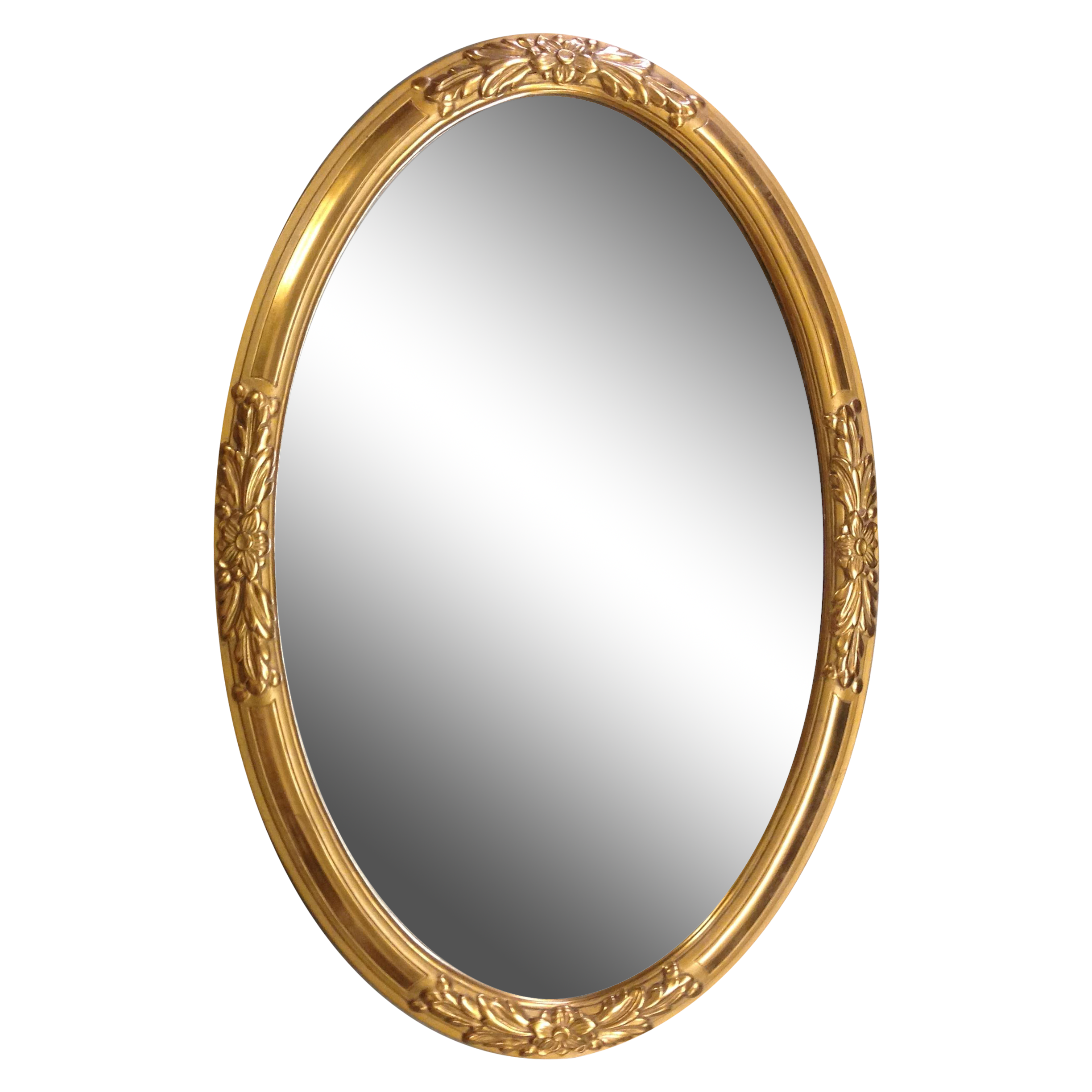 1930s French Gold Wood Framed Oval Mirror