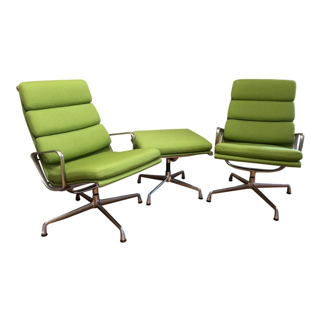 Herman Miller Eames Neon Green Pad Lounge Chairs With Ottoman - a Pair For Sale