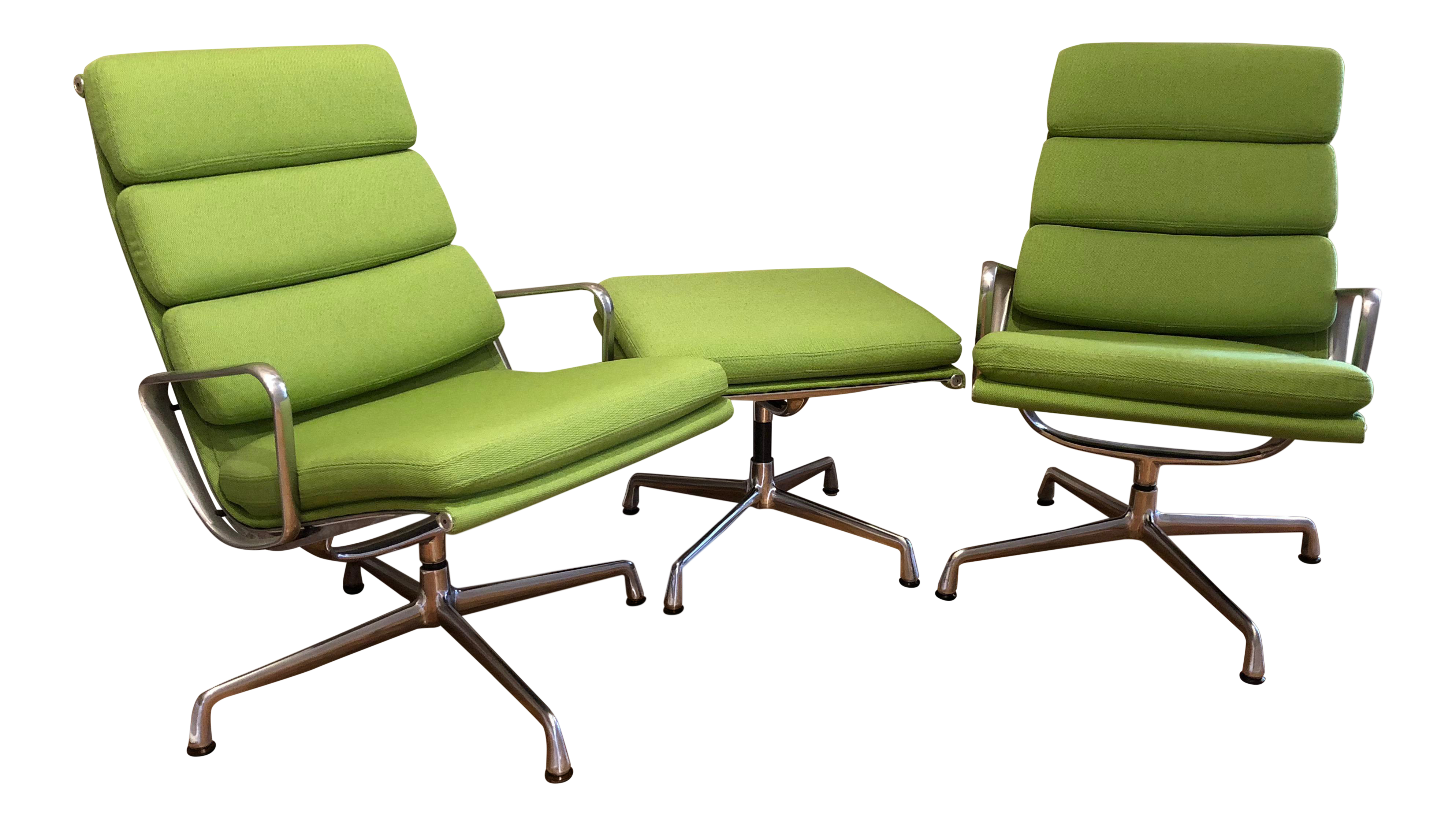 Herman Miller Eames Neon Green Pad Lounge Chairs With Ottoman   A Pair For  Sale