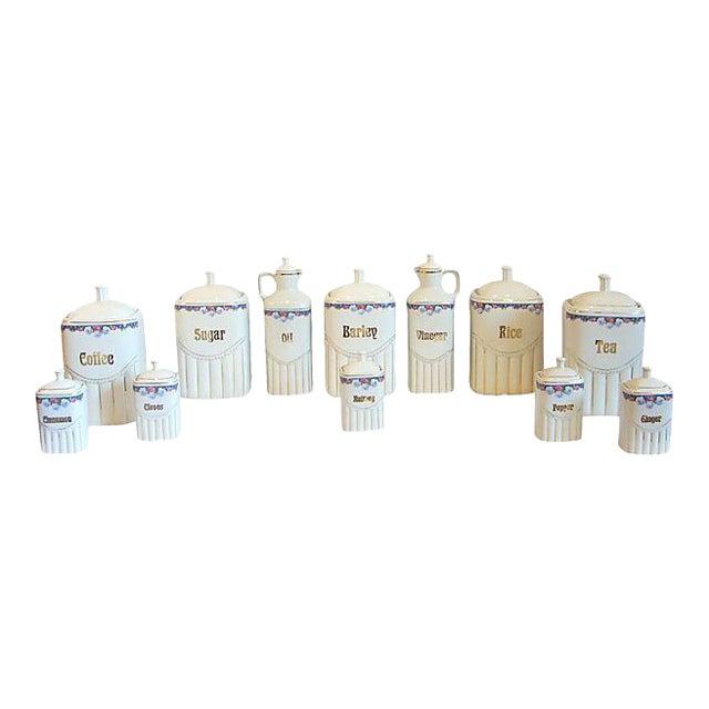 Vintage Porcelain Kitchen Canisters - Set of 12 - Image 1 of 8