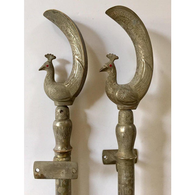 Large Peacock Shaped Brass Silvered Door Handles - a Pair For Sale - Image 9 of 13