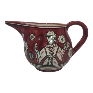 Vintage Italian Habdpainted Ceramic Pitcher For Sale