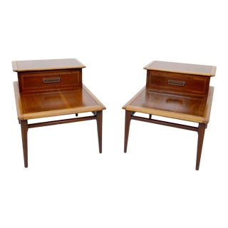1980s Vintage Lane Furniture Step End Tables - a Pair For Sale