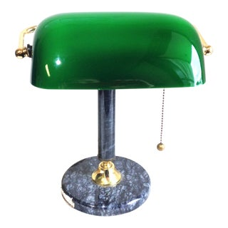 Bankers Marble Emerald Glass Desktop Lamp