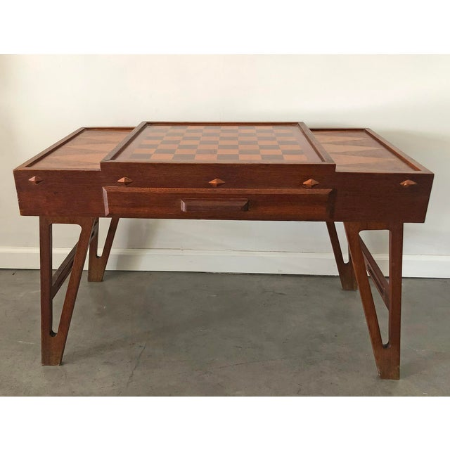 Brown Mid Century Danish Modern Teak Game Table For Sale - Image 8 of 9