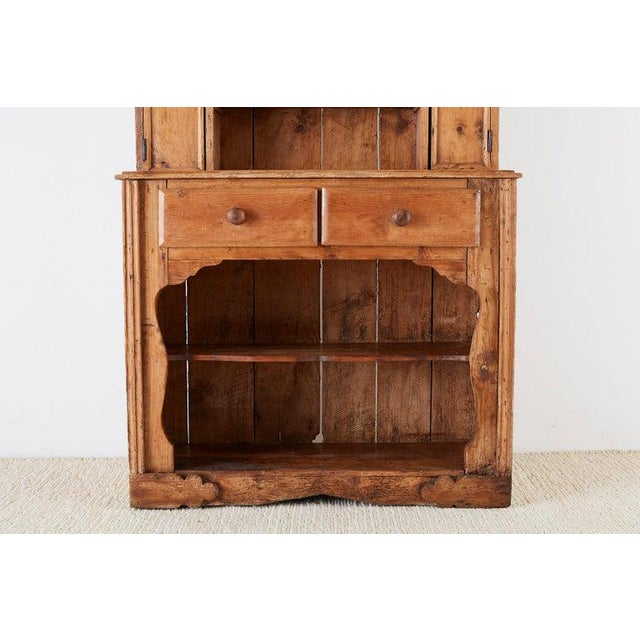 19th Century English Pine Cupboard Dresser With Rack For Sale - Image 4 of 13
